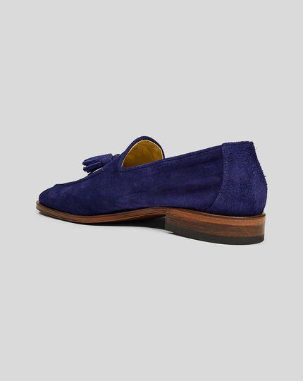 Flexible Sole Suede Tassel Loafers - Blue