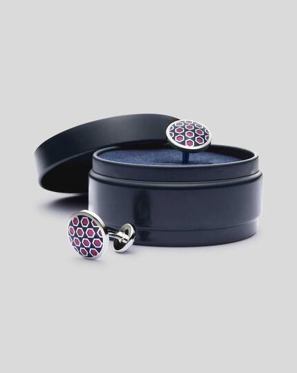 Enamel Geometric Round Cufflinks - Navy & Pink