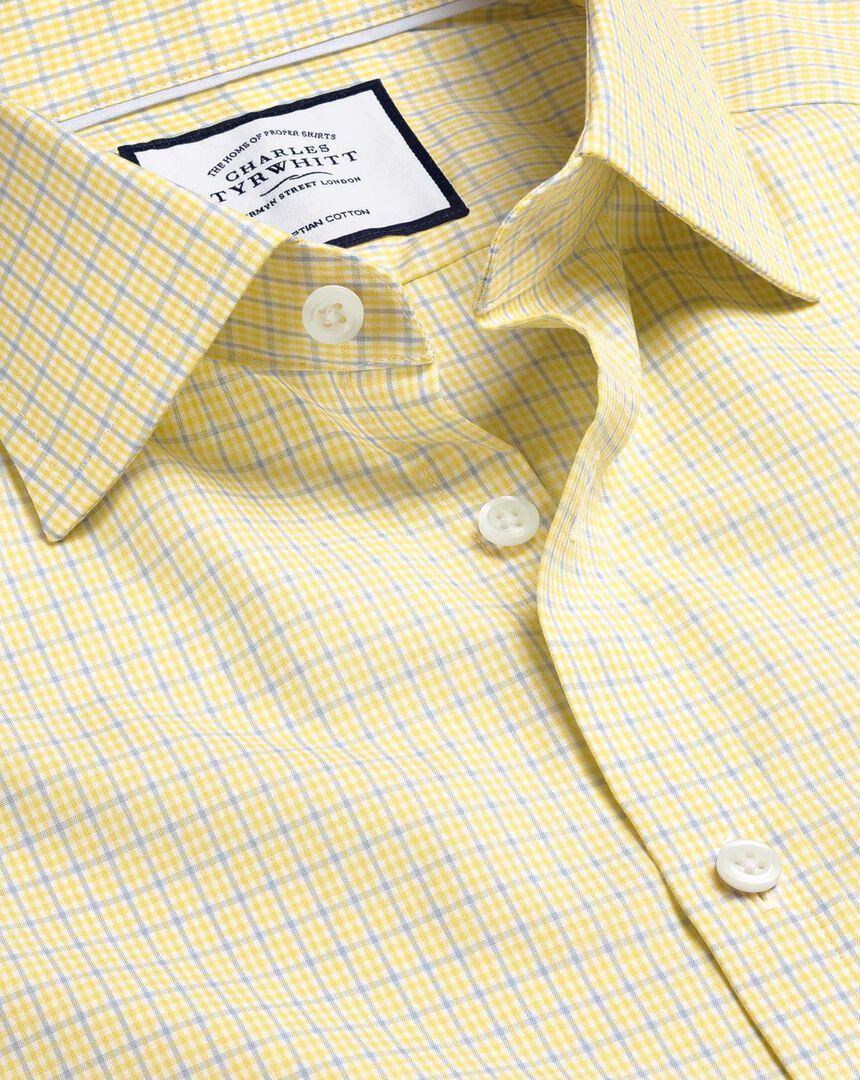 Semi-Cutaway Collar Egyptian Cotton Poplin Multi Check Shirt - Sky & Yellow