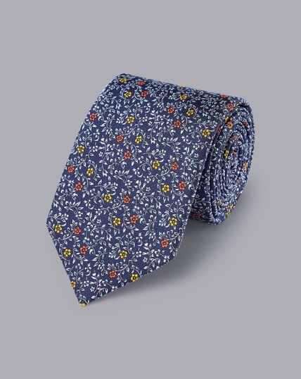 Silk English Luxury Design Tie - Indigo Blue & Light Blue