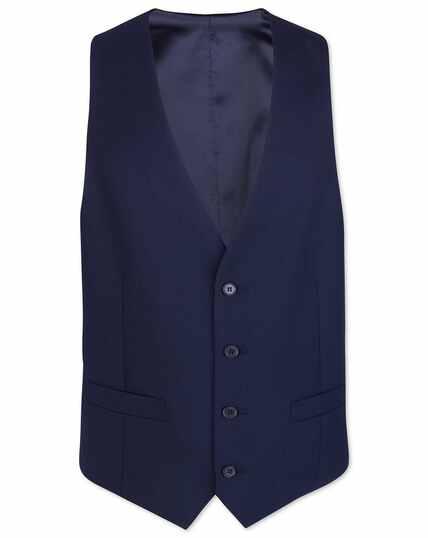 Royal blue adjustable fit merino business suit vest