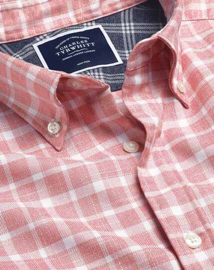 Button-Down Collar Non-Iron Twill Check Shirt - Pink & White