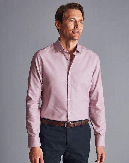 Semi-Cutaway Collar Non-Iron Stretch Texture Shirt - Red