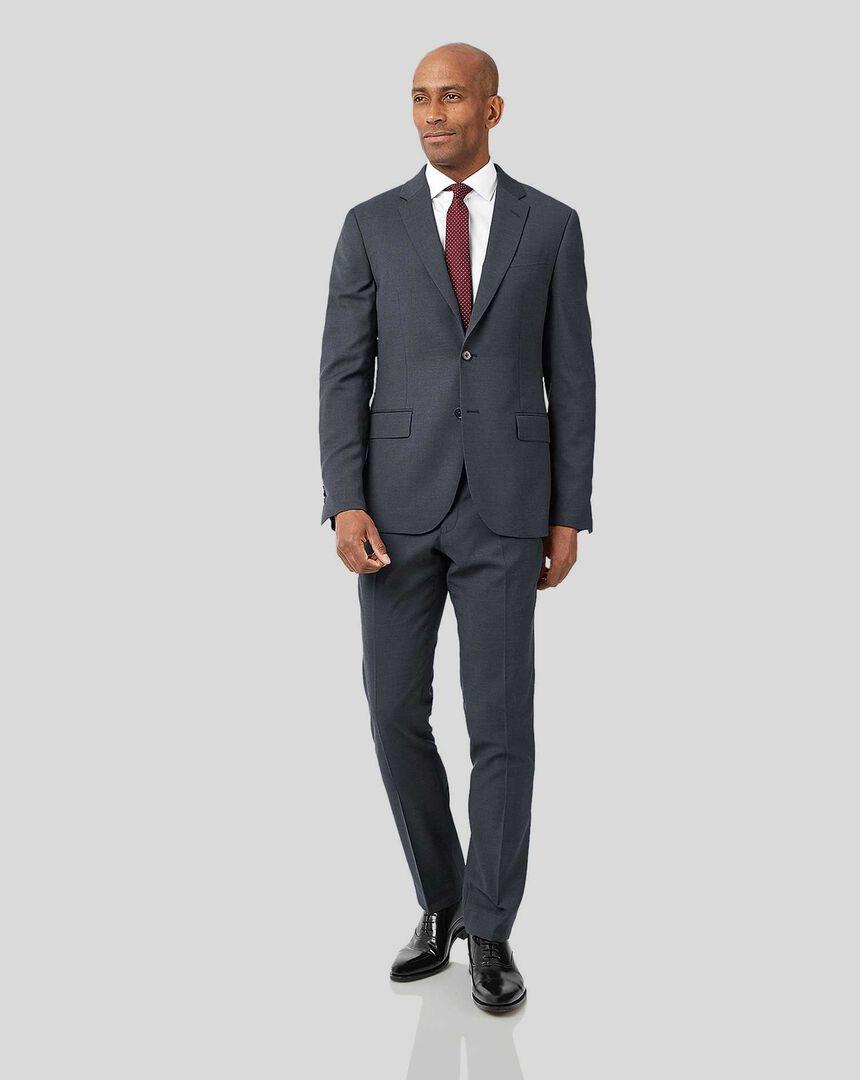 Business Textured Suit - Steel Grey
