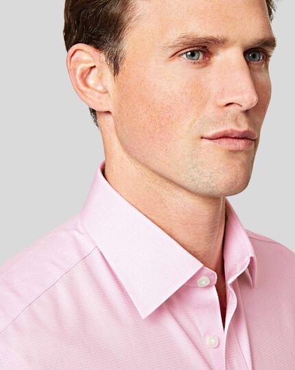 Non-Iron Mini Herringbone Shirt - Pink