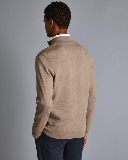 Merino Zip Neck Sweater - Oatmeal