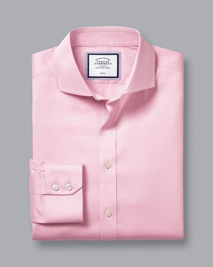 Cutaway Collar Non-Iron Twill Puppytooth Shirt - Pink