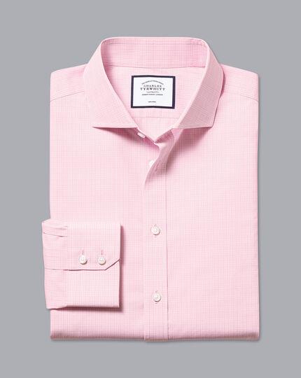 Spread Collar Non-Iron Prince of Wales Check Shirt - Pink