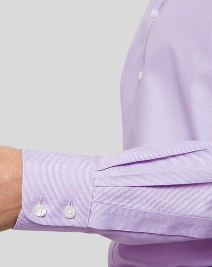Non-Iron Mini Herringbone Shirt - Lilac