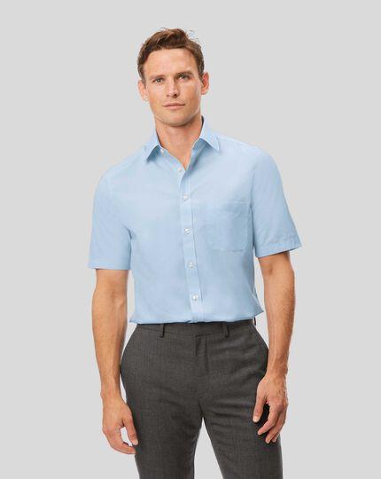 Non-Iron Tyrwhitt Cool Poplin Short Sleeve Shirt - Sky Blue