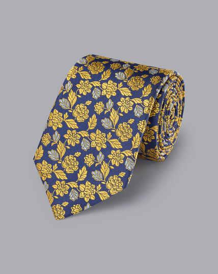 Englische Luxuskrawatte aus Seide - Königsblau & Sonnenblumengelb