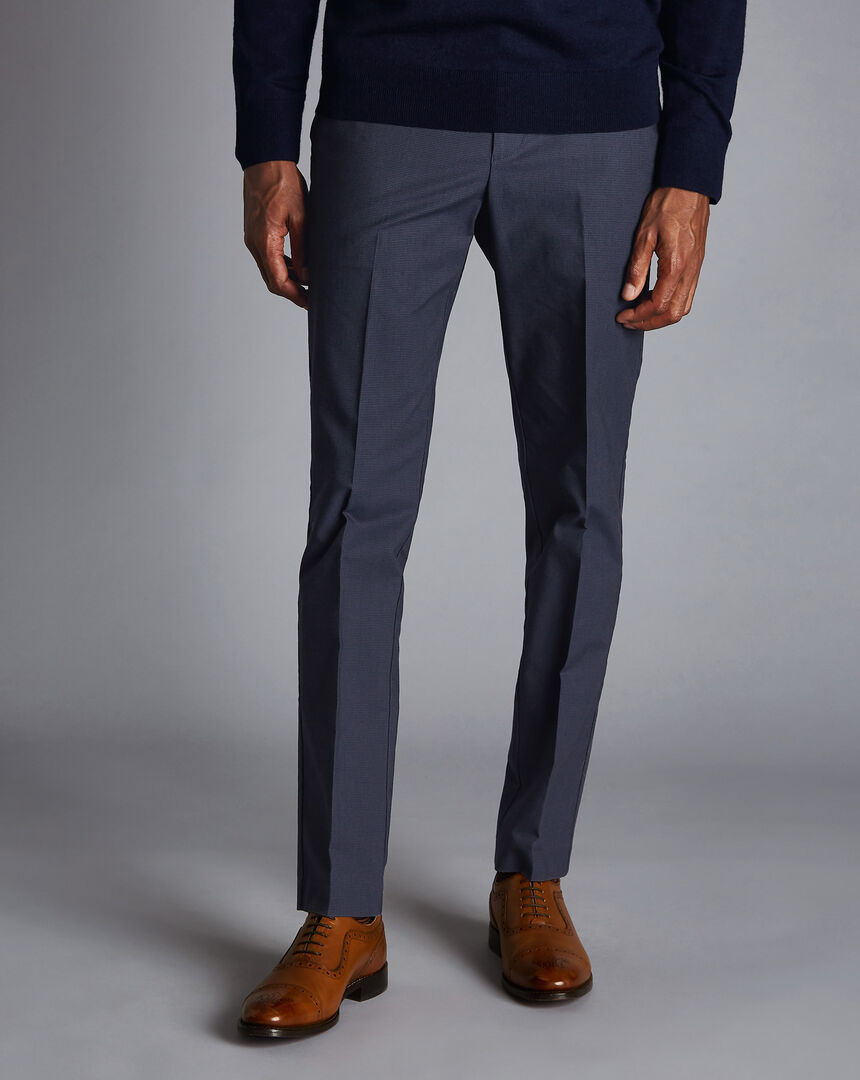 Non-Iron Basketweave Stretch Trousers - Navy