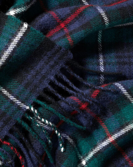 Lambswool Multi Check Scarf - Navy & Green