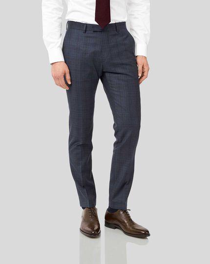 Italian Luxury Twill Check Suit Pants - Blue