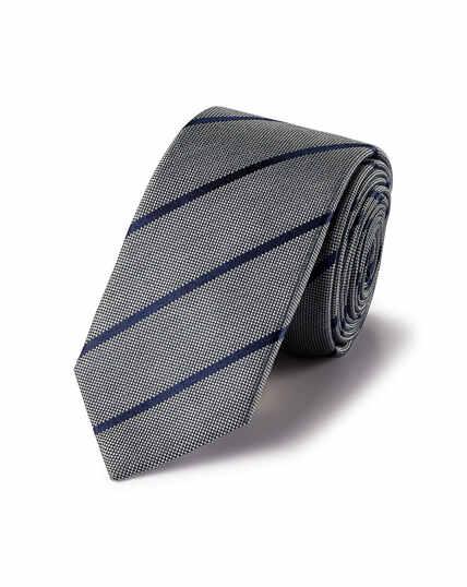 Silk Slim Stripe Tie - Grey & Navy