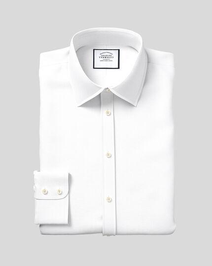 Hemd aus ägyptischer Baumwolle mit Gittermuster - Weiß