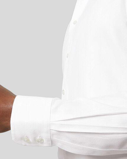 Cutaway Collar Non-Iron Herringbone Shirt - White