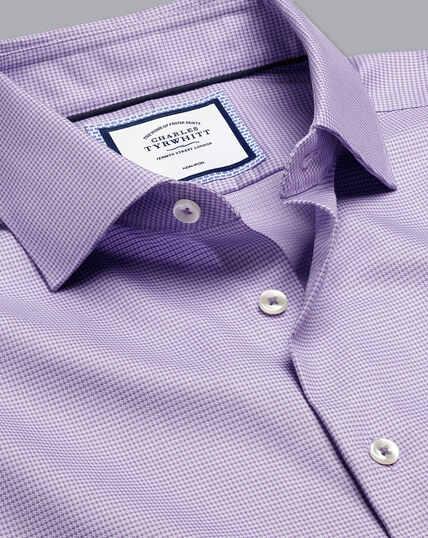 Semi-Cutaway Collar Non-Iron Stretch Texture Shirt - Lilac Purple
