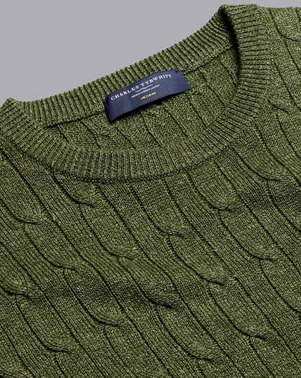 Pullover aus Merino-Leinen mit Rundhals und Zopfmuster - Olivgrün