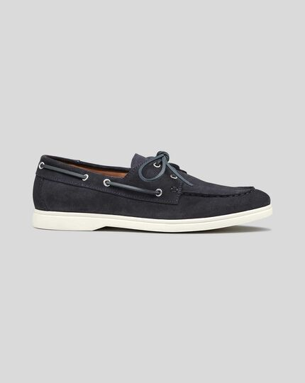 Suede Boat Shoes - Navy