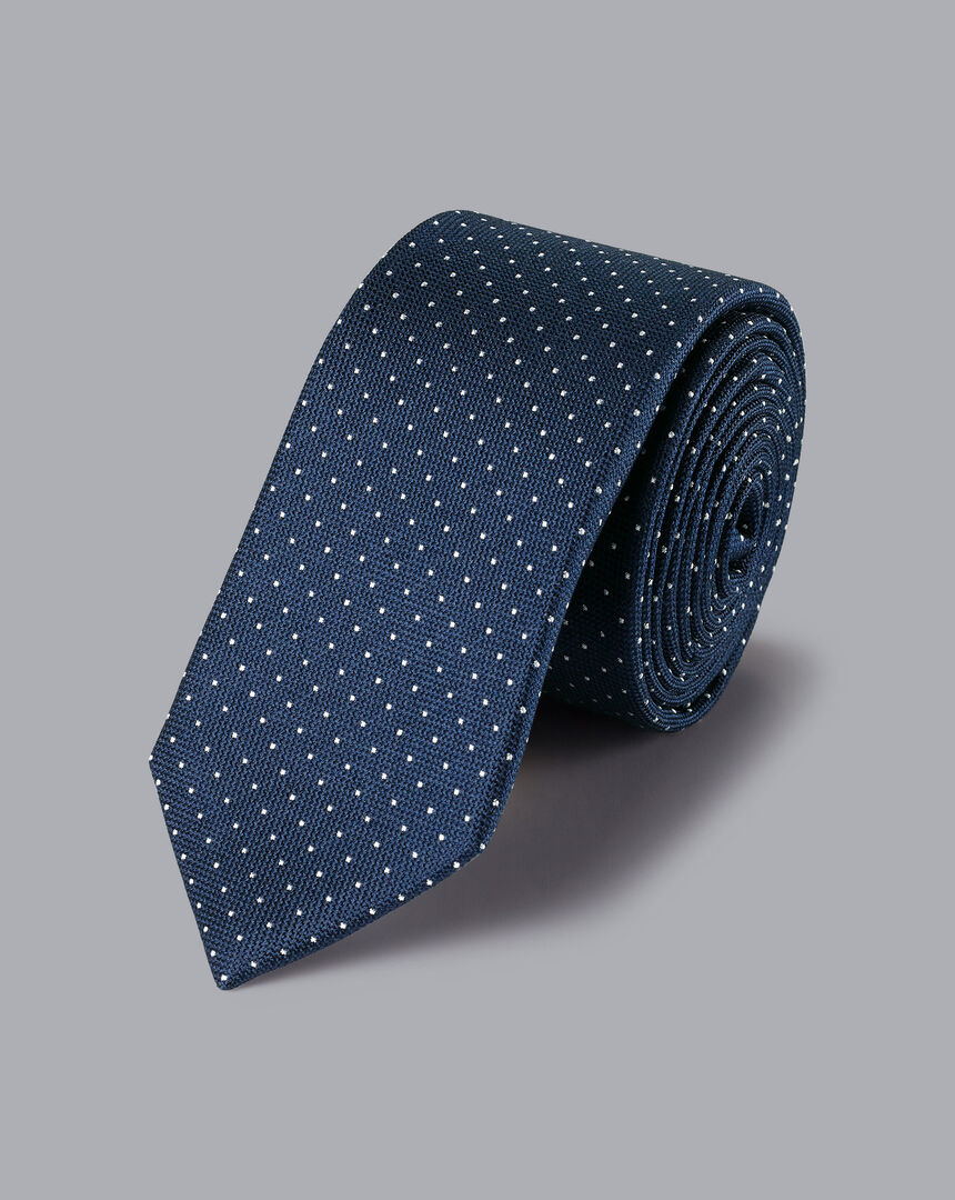 Slim Silk Pindot Tie - Royal Blue & White