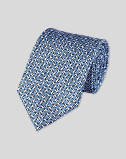 Krawatte mit England Rugby Ball-Print - Himmelblau