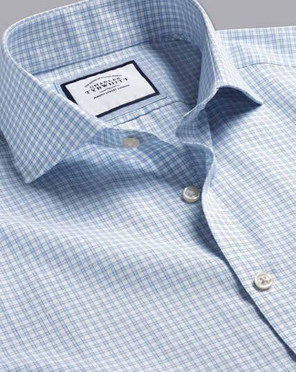Cutaway Collar Non-Iron Poplin Fine Check Shirt - Sky Blue
