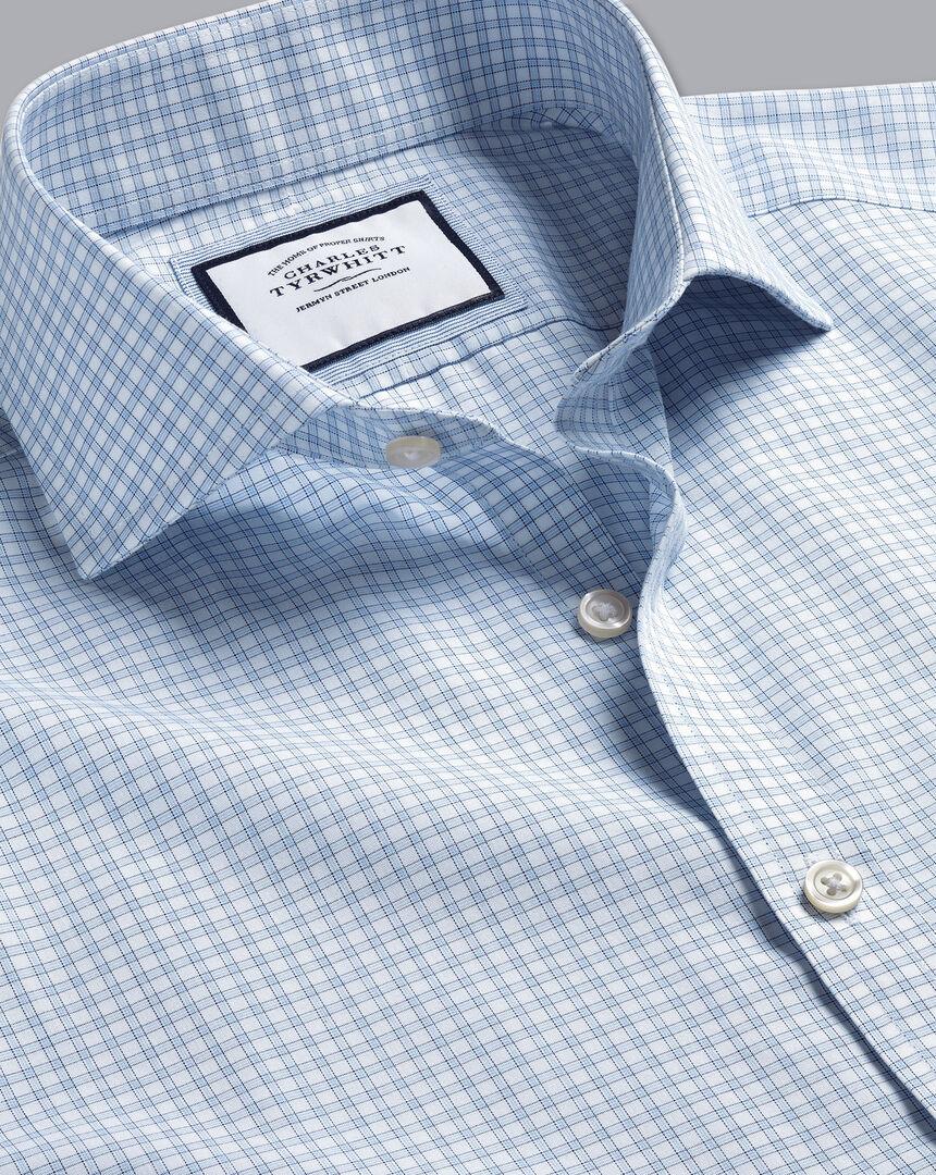 Bügelfreies Popeline-Hemd mit Haifischkragen und feinen Karos - Himmelblau
