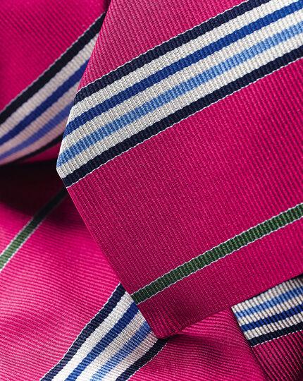 Englische Luxuskrawatte aus Seide mit diagonalen Streifen - Pink