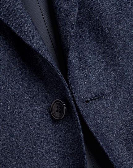 Italian Luxury Stretch Flannel Suit Jacket - Dark Blue