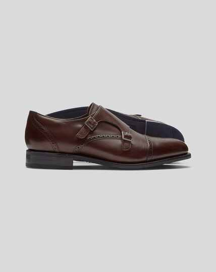 Goodyear Welted Double Buckle Monk Performance Shoes - Chocolate