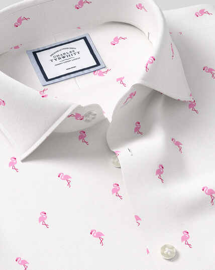 Bügelfreies Hemd mit Business-Casual-Kragen und Flamingo-Print - Rosa