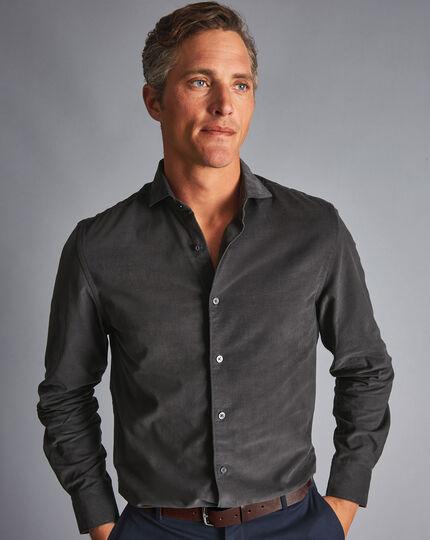 Spread Collar Fine Corduroy Shirt - Charcoal