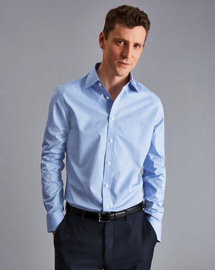 Semi-Cutaway Collar Egyptian Cotton Poplin Gingham Shirt - Sky & Blue
