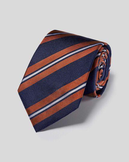 Krawatte aus Seide mit Doppelstreifen - Marineblau & Orange