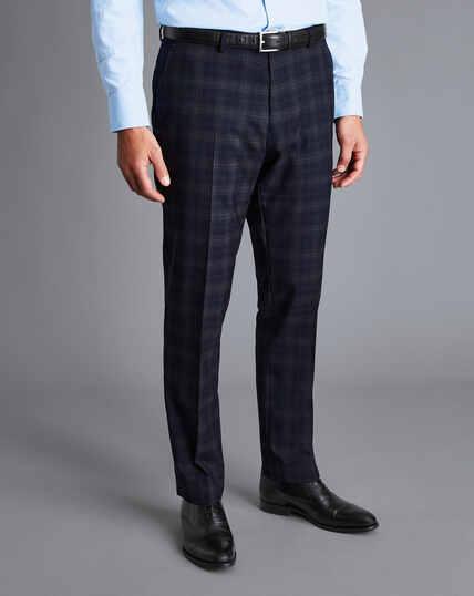Windowpane Check Suit Pants - Navy