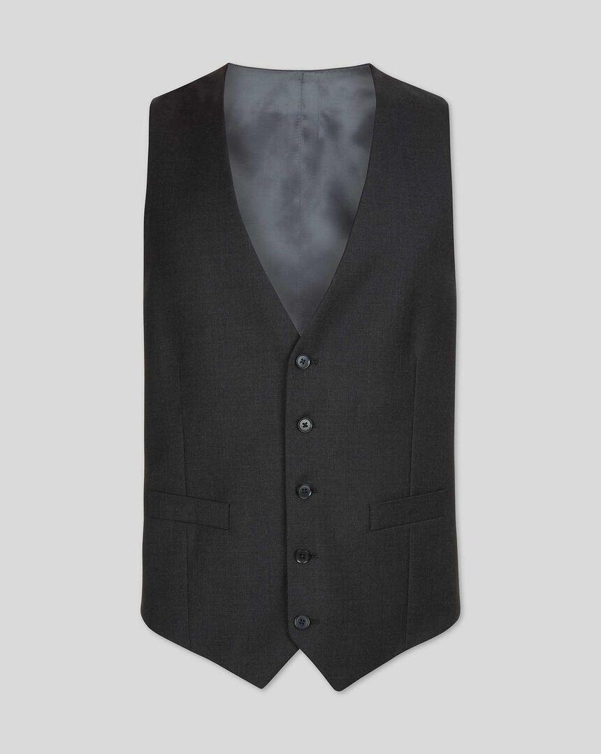 Twill Business Suit Vest - Charcoal