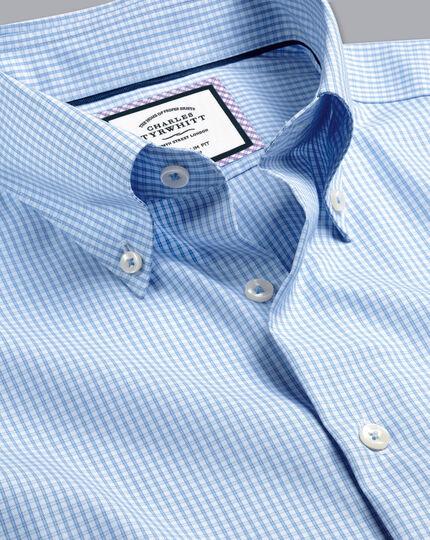 Button-Down Collar Non-Iron Check Shirt - Sky Blue
