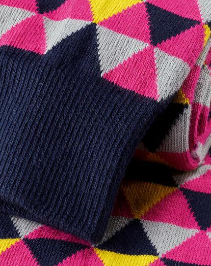 Socken mit Dreieckmuster - Rosa & Gelb