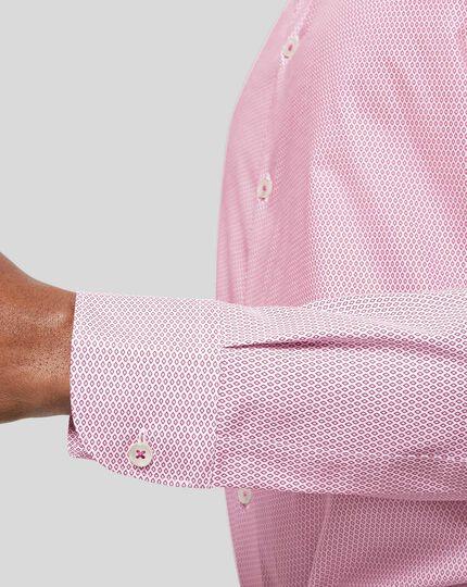 Business Casual Collar Non-Iron Diamond Printed Shirt - Red