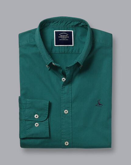 Garment-Dyed Fine Twill Shirt - Teal