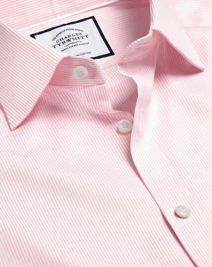 Semi-Cutaway Collar Egyptian Cotton Twill Bengal Stripe Shirt - Pink