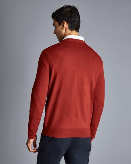 Merino V-Neck Sweater - Dark Orange