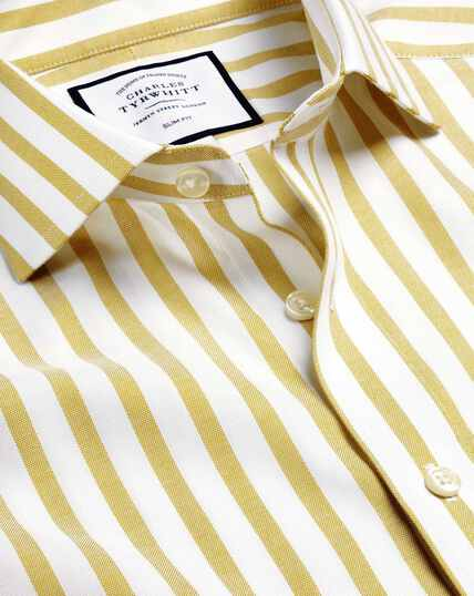 Cutaway Collar Cotton Stretch with TENCEL™ Stripe Shirt - Chartreuse