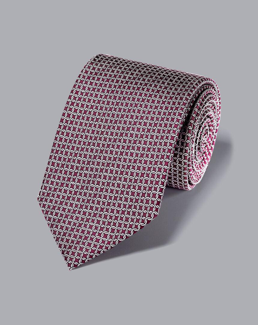 Silk Chain Print Tie - Burgundy