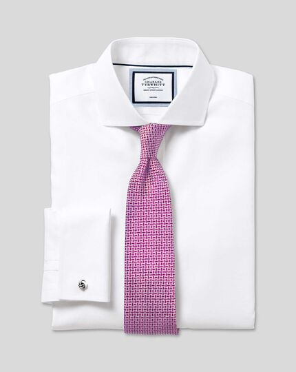 Cutaway Collar Non-Iron Ludgate Weave Shirt - White