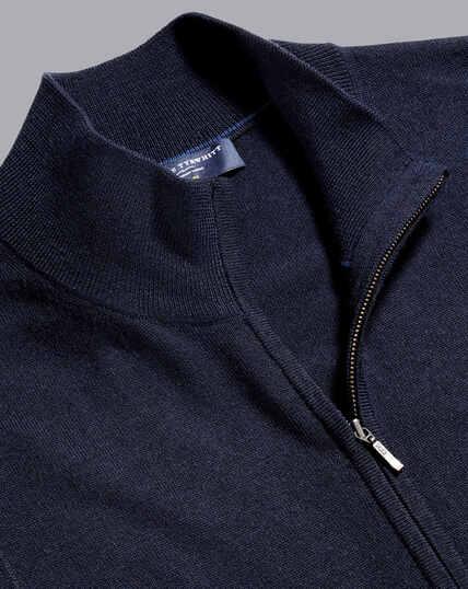 Merino-Weste mit durchgehendem Reißverschluss - Marineblau