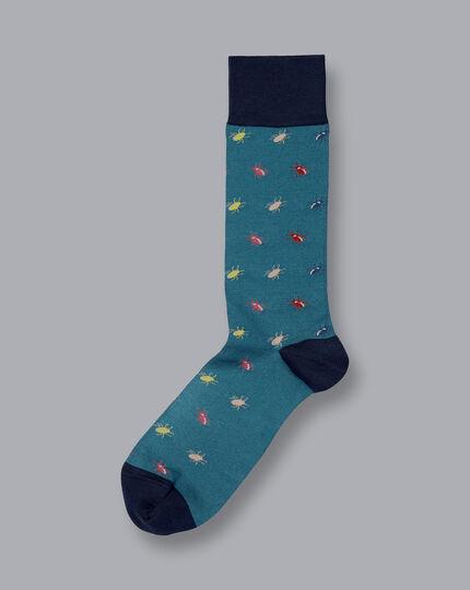 Jacquard Insect Motif Socks - Teal