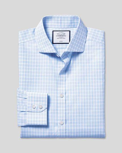 Spread Collar Non-Iron Poplin Check Shirt - Sky Blue