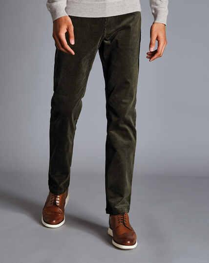 Stretch Corduroy 5-Pocket Pants - Dark Green